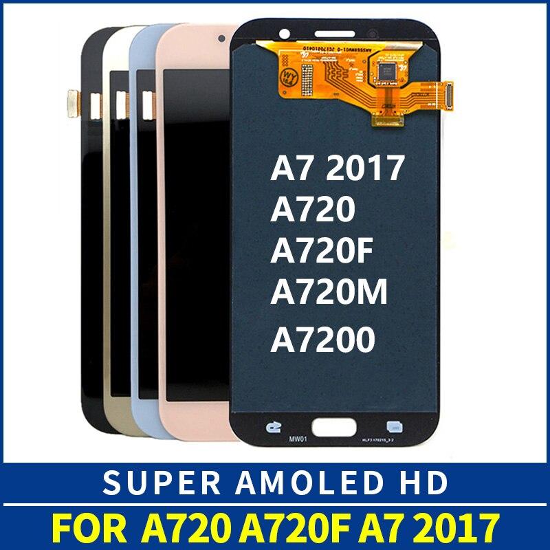 YDIN D'origine Amoled A720F LCD Pour SAMSUNG GALAXY A7 2017 A720 SM-A720F LCD Affichage à L'écran Tactile Digitizer Assemblée Remplacement