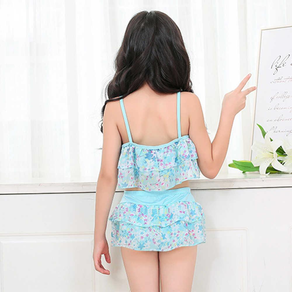 2019 nuevo traje de baño para niños bañadores para niño/A VERANO dos piezas bordeadas traje de baño chica Bikini ropa de playa traje de baño