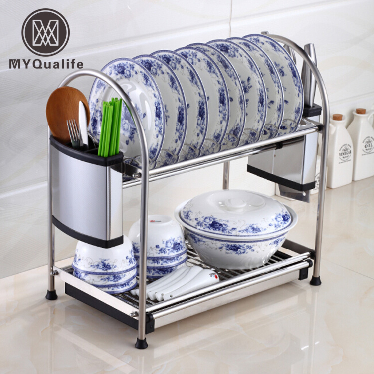 Multi-functions Double Layer Desktop Kitchen Storage Rack Kitchen Tools Holder Dish Rack Stainless Steel цена и фото