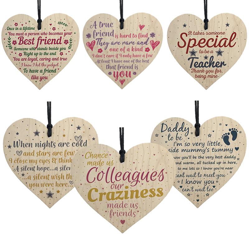 Creative DIY Wood Crafts Wooden Heart Shapes Hanging Tags Embellishments Wedding Event Party Home Decoration Supplies 62527-1
