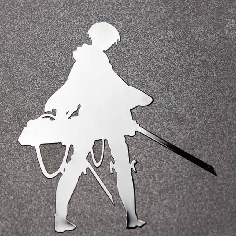 Large Attack on Titan Levi Anime Sticker Phone Laptop Stikers Car Motorcycle  DIY 3D Metal Stickers toys for children