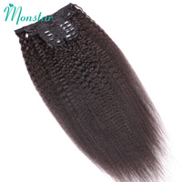 Monstar Yaki Kinky straight Clip Ins Hair Extensions Peruvian Remy Kinky Coarse Weave Clip In Human Hair Extensions 7Pcs/Set