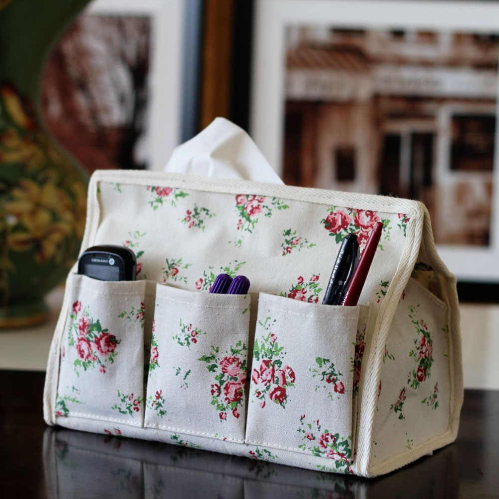 Flowers Pattern Tissue Box 6 Pocket Linen Fabric Home Car Tissue Case Napkin Paper organizer Table Decoration Accessories 1pcs