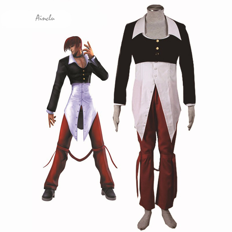 Ainclu Free Shipping Adult Kid King of Fighters Iori Yagami Cosplay Costume Anime Costume For Halloween Christmas