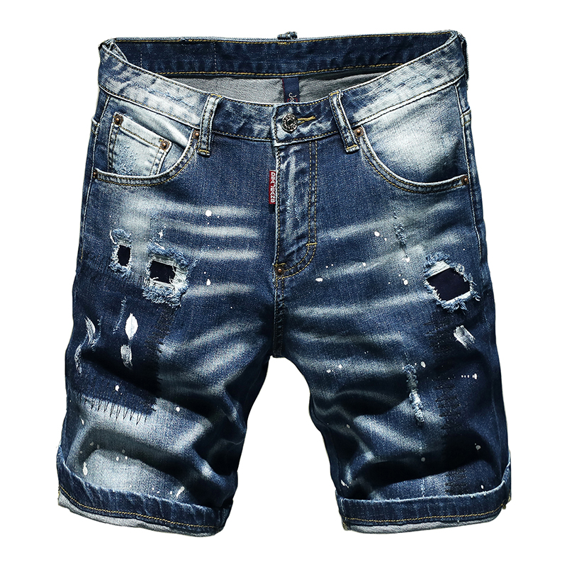 Shorts Men Jeans Ripped Torn Pants Stretch Embroidery Five Short Pants Jeans Blue Male The Summer New Fashion Hip Hop Streetwear