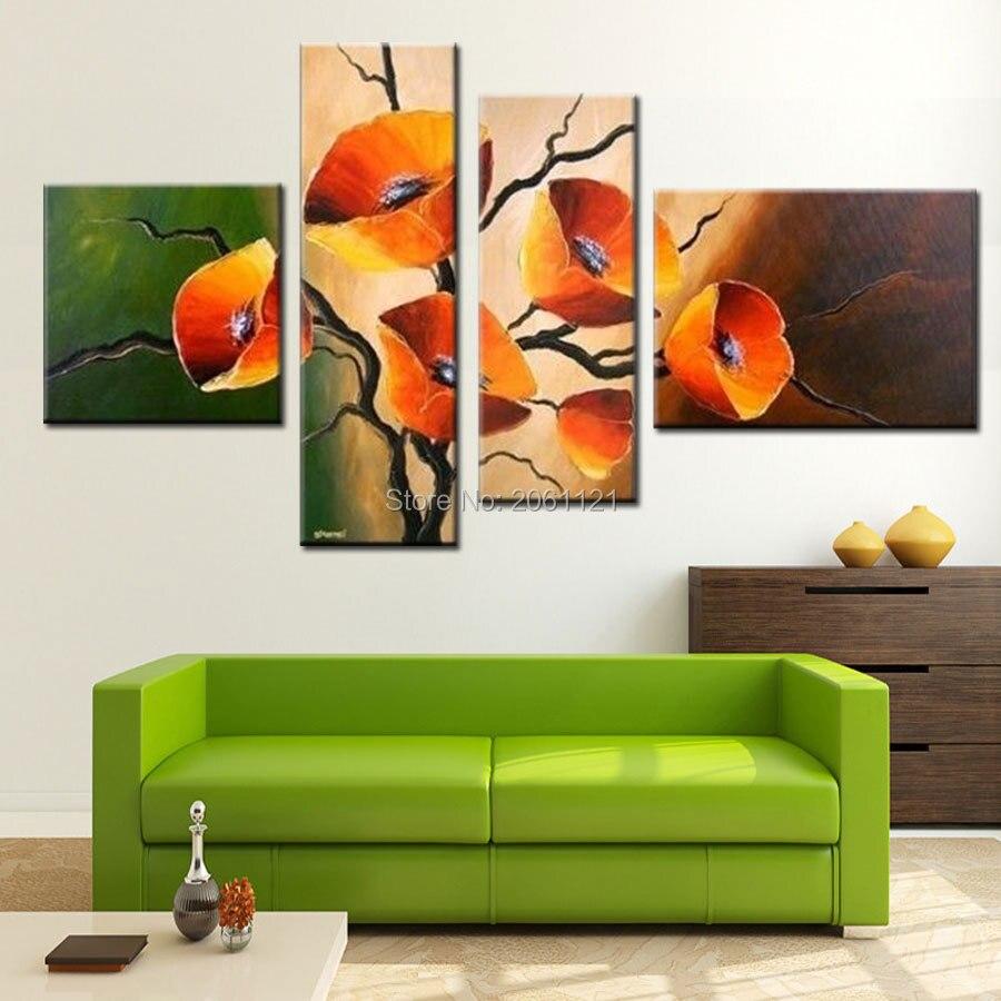 Pintado à mão 4 peça define abstrata moderna amarelo verde orange a vida Da Pintura A Óleo Da Flor Da Arte Da Lona Para a Decoração Da Parede venda