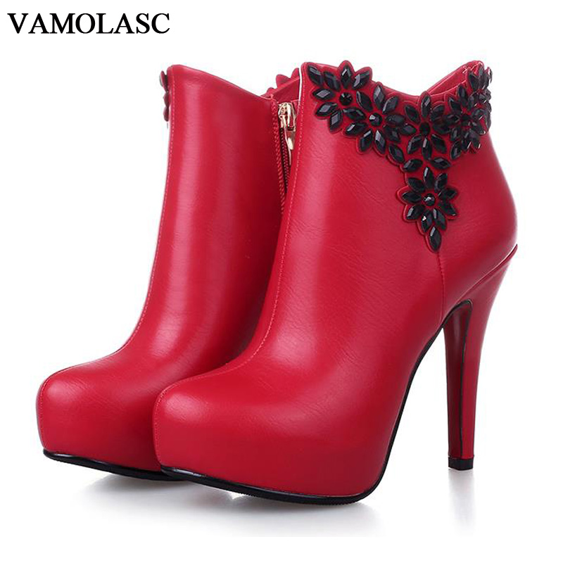 VAMOLASC New Women Autumn Winter Warm Leather Ankle Boots Sexy Zipper Thin High Heel Martin Boots Platform Flowers Women Shoes цены онлайн