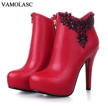 VAMOLASC New Women Autumn Winter Warm Leather Ankle Boots Sexy Zipper Thin High Heel Martin Boots Platform Flowers Women Shoes