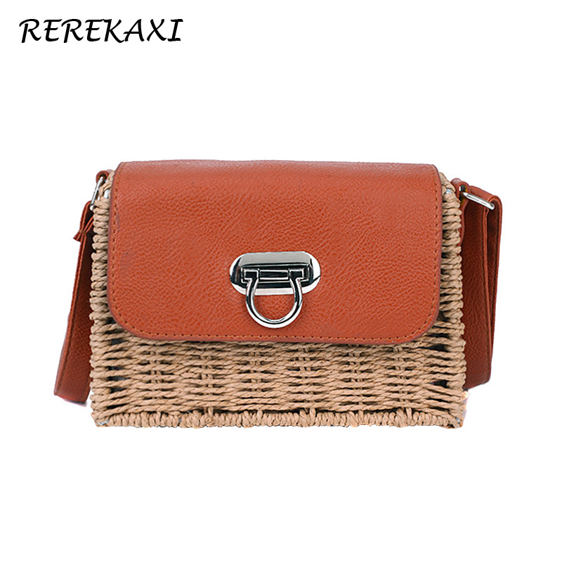 <font><b>REREKAXI</b></font> Women Shoulder Bag Handmade Female Mini Messenger Bags Summer Straw Beach Bags Woven Handbag Bohemia Crossbody Bag Tote image