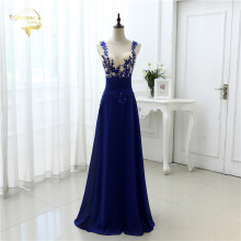! Good Quality 2014 Blue Lace Chiffon Evening Dresses Women Dress OL3102
