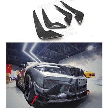 2 serisi Karbon Fiber Ön Tampon Yüzgeçleri Çıkartmalar Canard Kapakları Vücut Kitleri için Trimler BMW F87 M2 2014 2015 2016 2017 2018