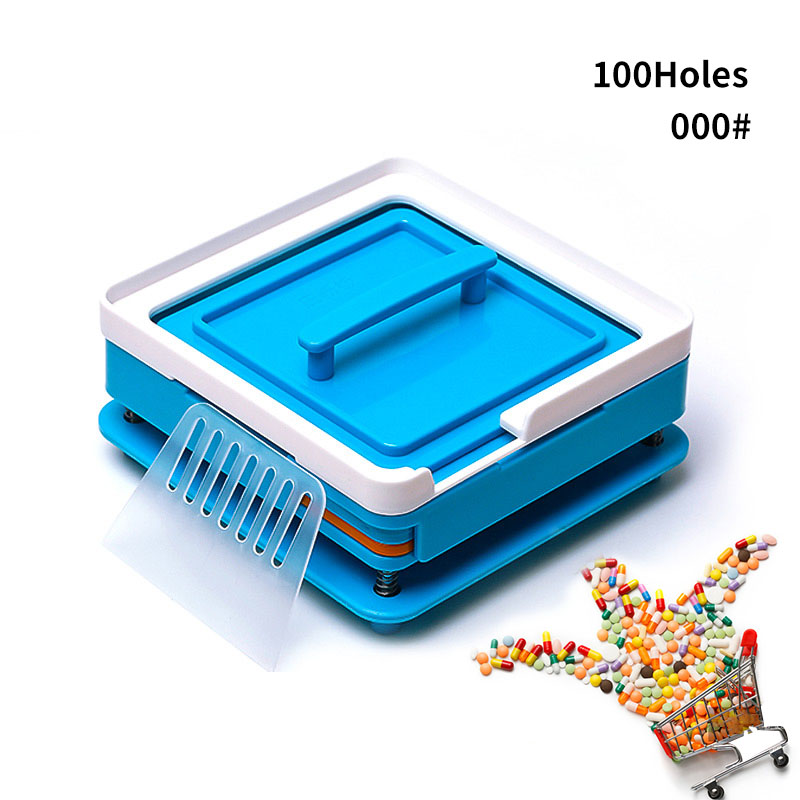 ABS Blue Capsule Filling Plate 100 Hole Filling Machine Manual Capsule #000 Medicine Capsule Production DIY Herb