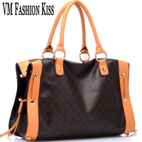 VM FASHION KISS Designer Totes Women Boston Bag Imitation Leather Handbag Old Flower Letter Veins Female
