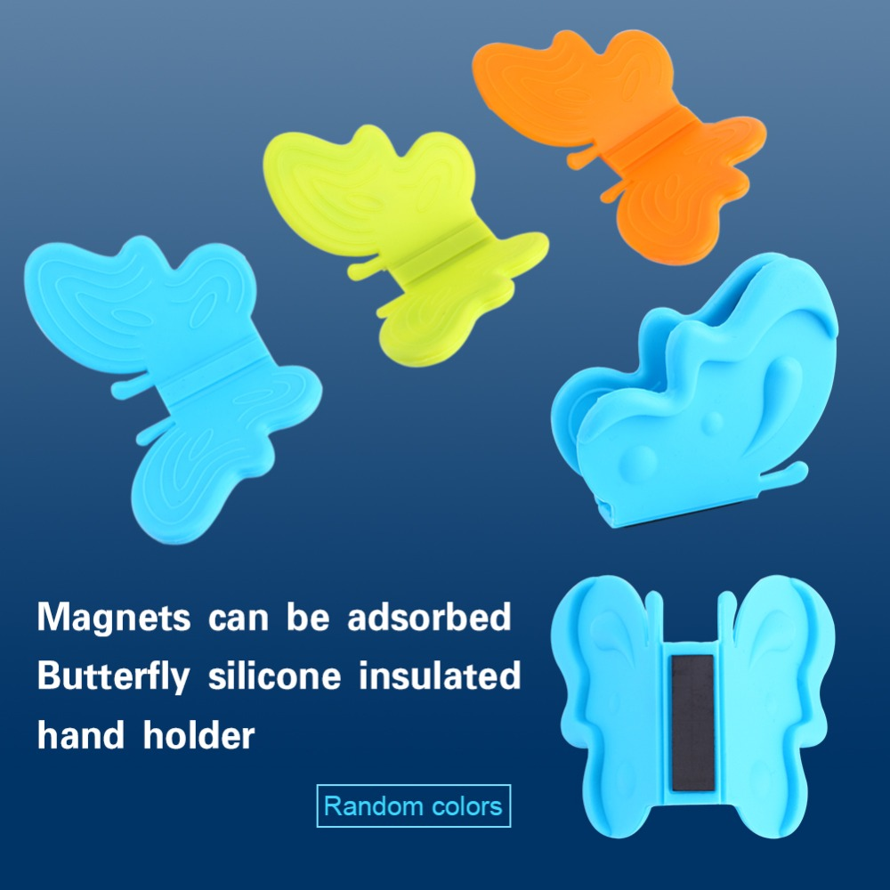2pcs/lot Butterfly Sharped Silicone Adiabatic Pot Clips Magnet Dish ...