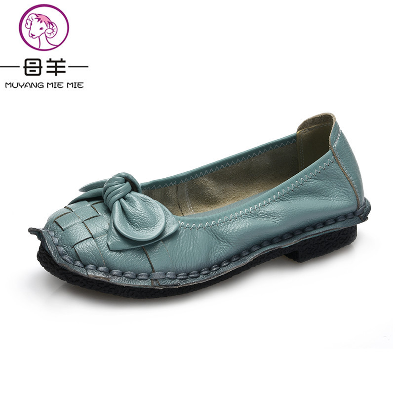 MUYANG Spring Loafers Handmade Genuine Leather Women Shoes Woman Flat Casual Shoes 2017 Fashion Soft Comfortable Bow Women Flats top brand high quality genuine leather casual men shoes cow suede comfortable loafers soft breathable shoes men flats warm