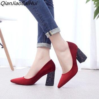 Zapatos de tacón alto con punta de gamuza de las mujeres bombas de tobillo cHWowC