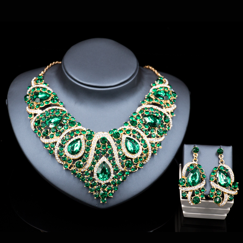 lan palace latest african beads for wedding gold color red jewelry sets necklace and earrings six