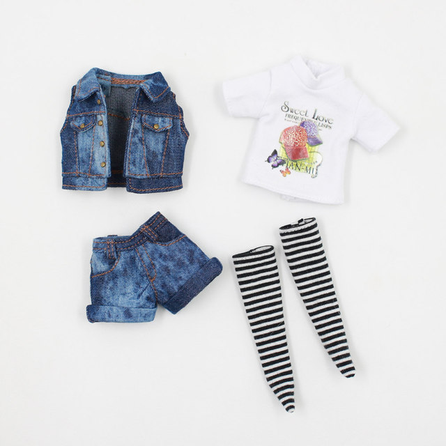 Blyth ICY Licca 1/6 Doll Accessories Jeans Outfit with Stockings Cool Style Free Shipping