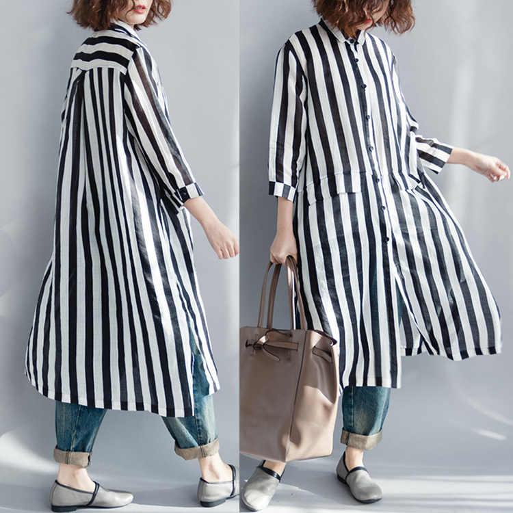 Для женщин блузка летняя плюс Размеры в полоску с рукавами «летучая мышь» женские Офисные женские туфли одежда больших размеров, свободное, черного цвета, футболка с длинными рукавами кардиган 2018 B210