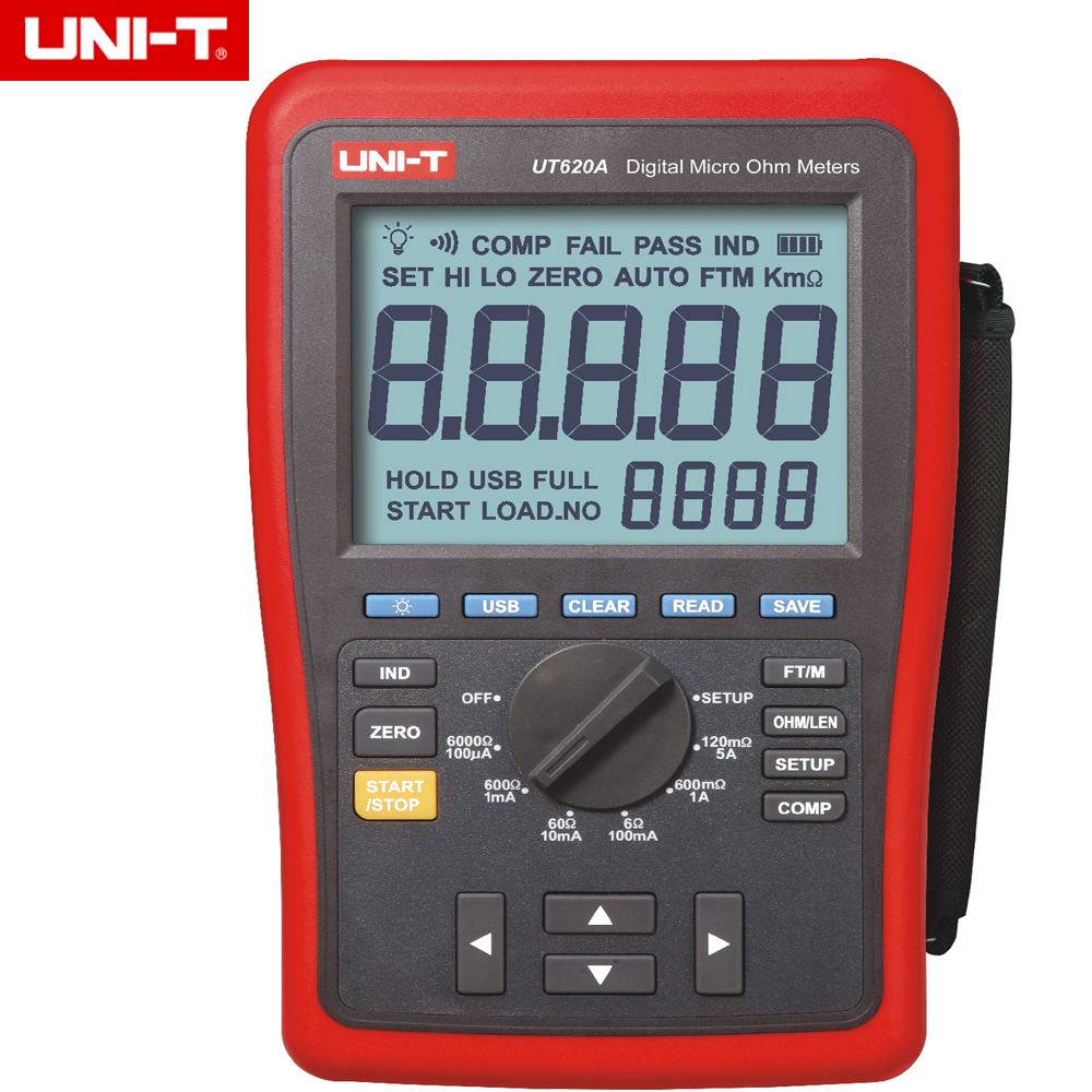 UNI T UT620A Digital Micro Ohm Meter Resistance Meter with High Low limit Alarm and Back