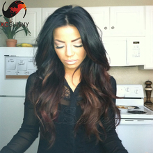 150% Density Ombre Human Hair Glueless Lace Front  Wig Brazilian Virgin Hair Body Wave Lace Front Wigs