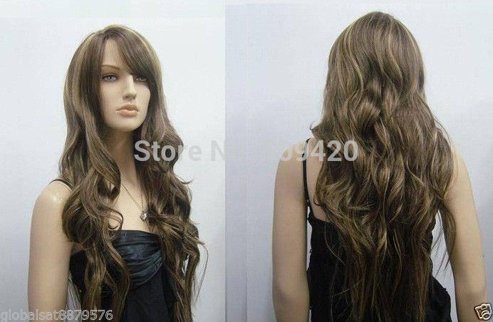 82Q>> Extra Long Wavy Medium Brown Highlight Wigs Salon Hairstyle on ...