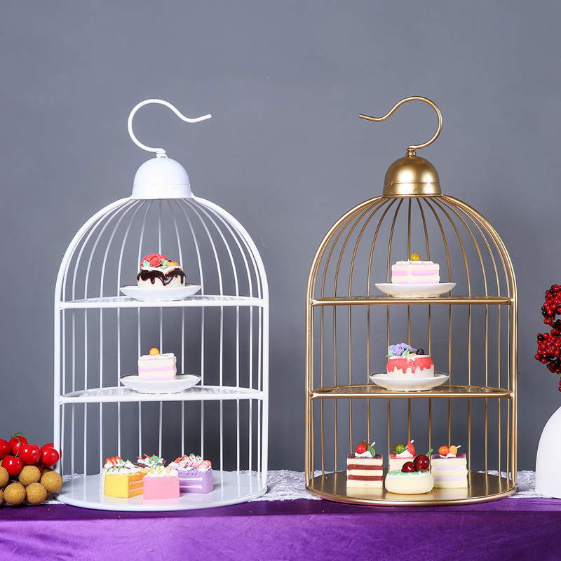 Bird Cage 3 Tiers Dessert Plate Afternoon Tea Dessert