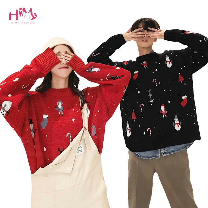 Anime Christmas Sweater.Ugly Christmas Sweater Women Men Winter Plus Size Kawaii Couple Cloth Pullover Long Sleeve Cute Anime Knitted Warm Jumper Tops