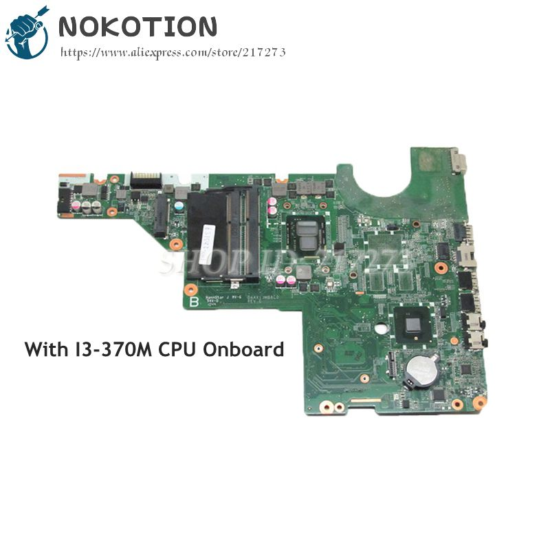 NOKOTION 637583-001 DAAX1JMB8C0 PC Motherboard For HP Pavilion G62 G42 MAIN BOARD System Board I3-370M CPU DDR3 613294 001 notebook pc motherboard for hp probook 6450b 6550b main board system board hm57 hd ddr3