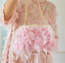 Angelatracy 2019 Lady Feather Tassel Metal Frame Japan Style Winter Plush Solid Pink Women Shoulder Girl Chain Cross body Bags