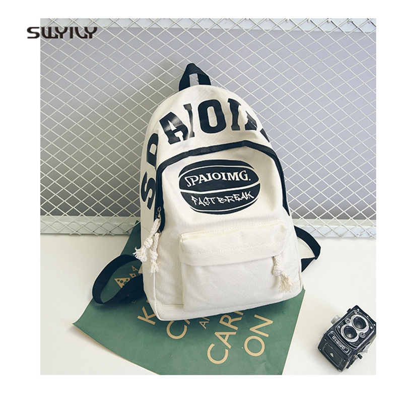 SWYIVY Student Canvas Backbag 2018 Spring Summer New Woman Travel Backpack Letter Print Female Student School Bag White