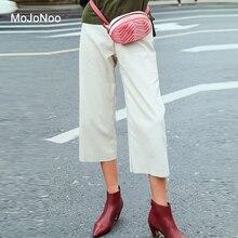 Фотография MOJONOO Autumn White Straight Calf-length Pants Loose Trousers Women 2017 High Waist Big Size Casual Pants Elasti Pantalon Femme