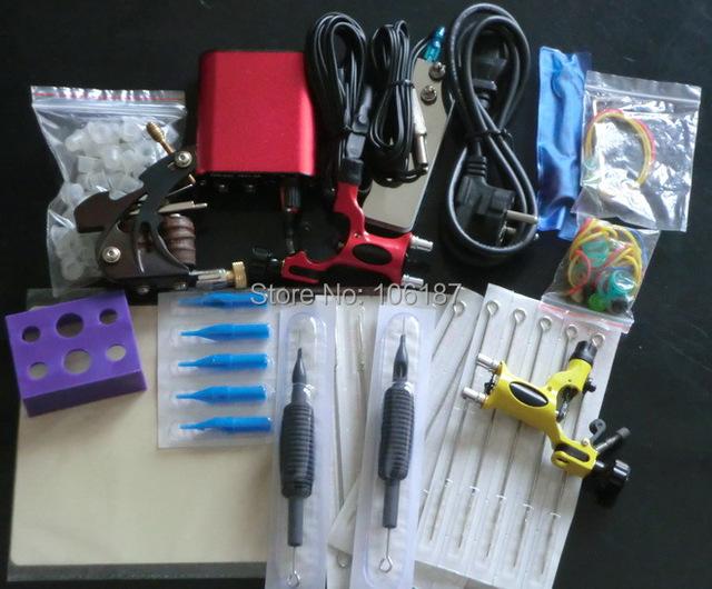 Venda Completa Kit DE Máquina de Tatuagem Kits de Tatuagem Arma de Alimentação Agulhas abastecimento de Aperto Dica Kits de Tatuagem Com Frete Grátis para iniciante