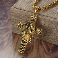 Crucifix Cross Necklace Catholic Men's Pendant Vintage Gold Color Stainless Steel Chain For Men Jewelry Jesus Piece Dropshipping