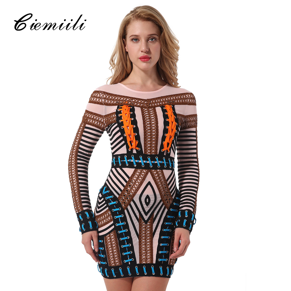 CIEMIILI 2018 Women Patchwork Hollow Out Dress Evening Party Sexy O Neck Mini Full Sleeve Runway
