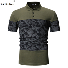 ZYFG free men casual summer T-shirt turn-dwon collar short sleeve t-shirt fashion patchwork color t-shirts for Tees US size