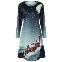 CharMma גרפיים ארוך שרוול בתוספת גודל 2017 אופנה חדשה לחג המולד טי שמלות נשים מקרית O צוואר קו שמלה גדולה נקבה
