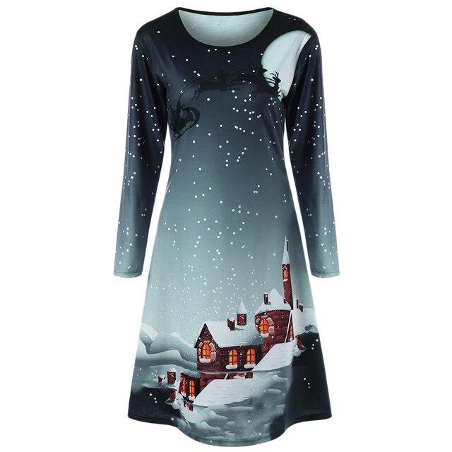 CharMma 2017 New Fashion Christmas Plus Size Graphic Long Sleeve Tee Dress Women Casual O Neck A Line Oversized Dress Female