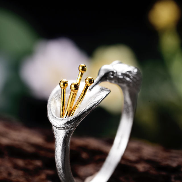 Lotus Fun Real 925 Sterling Silver Bird Ring Natural Creative Design Fine Jewelry Adjustable Hummingbird Rings for Women Bijoux 2