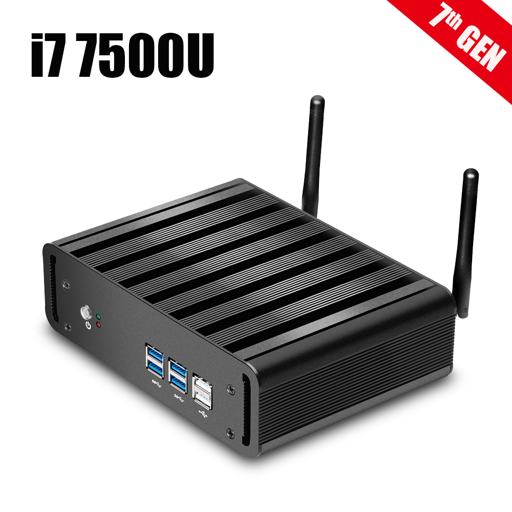 Newest 7th Gen Core i7 7500U Mini PC Windows 10 HTPC 8GB RAM DDR4 320GB SSD Fanless System 4K HDMI VGA WiFi Nettop Gaming PC 17 fanless industrial panel pc capacitive touchscreen core i3 cpu 2g ddr3 320gb hdd 4 rs232 4 usb 1 glan wifi optional