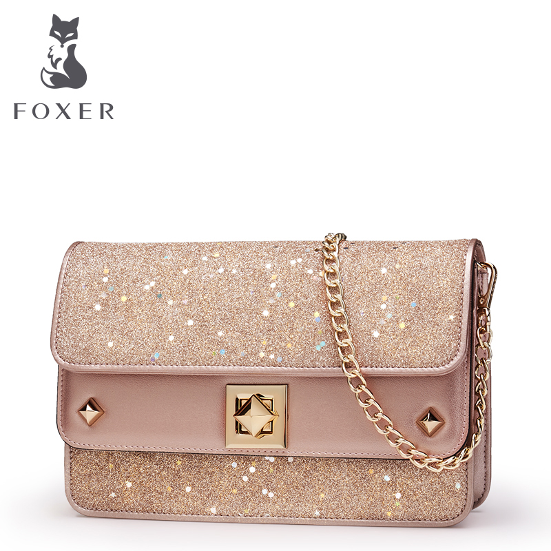 FOXER Women Shoulder Bag Leather Crossbody Bags For Female Fashion Messenger Bag Girls Mini Chain Bags