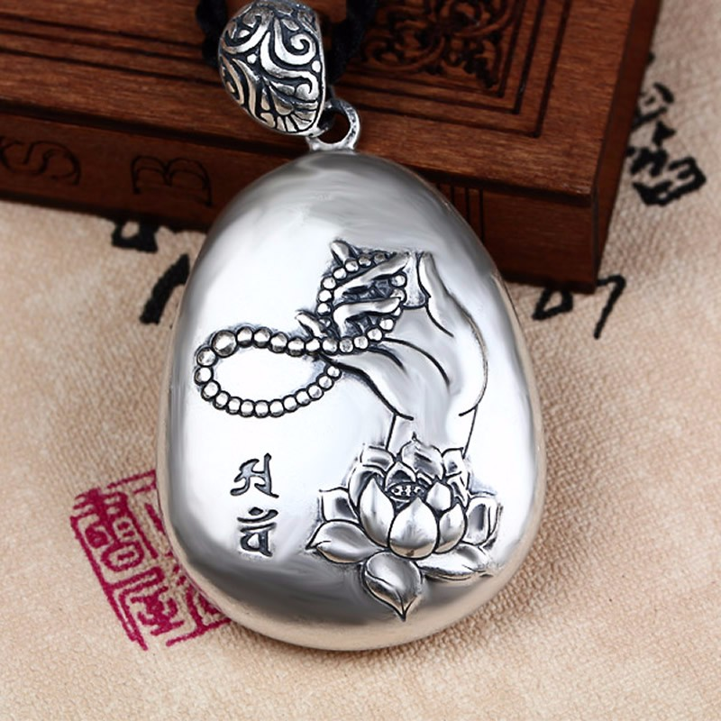 New Pure 925 Sterling Silver Carved Lotus Buddha Hand Scripture PendantNew Pure 925 Sterling Silver Carved Lotus Buddha Hand Scripture Pendant