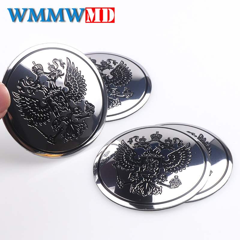 4Pcs Car Stickers Aluminum Coat Of Arms Of Car Body Metal Sticker Russia Eagle Decal Decoration For Lada Kia Renault Hyundai BMW