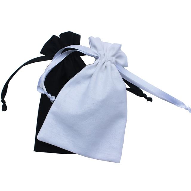 (50 stks/partij) 125g/m2 black & white trekkoord promotionele tassen katoenen koord zakje recycle bag aanpassenpouch pouchcustom pouchcustom bag