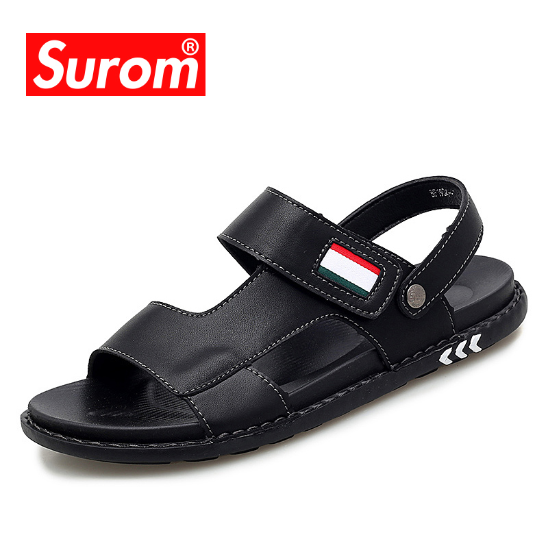 SUROM 2019 Summer New Fashion Sandals Men's Shoes Two Wear Design Breathable Comfortable Non-Slip Sandals Casual Wild Slippers(China)