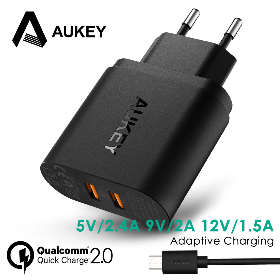 AUKEY 36W Dual Port Quick Charge 2.0 USB Fast Charger for Phone iPhone Samsung W