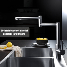 High quality kitchen SUS304 stainless steel brushed single hole free rotation sink mixer faucet deck mounted water tap