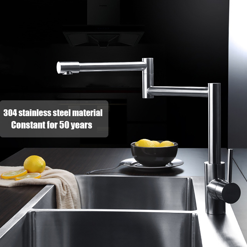 High quality kitchen SUS304 stainless steel brushed single hole free rotation sink mixer faucet deck mounted water tap okaros nickel brushed 304 stainless steel kitchen sink faucet deck mounted basin tap cold