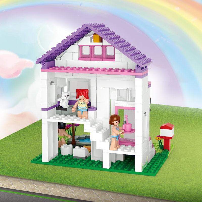 0532 SLUBAN Girl Friends Pool Villa Model Building Blocks Classic Enlighten DIY Figure Toys For Children Compatible Legoe