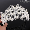 Gorgeous Sparkling Silver Big Wedding Diamante Pageant Tiaras Hairband Crystal Bridal Crowns For Brides Hair Jewelry Headpiece